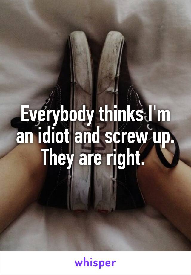 Everybody thinks I'm an idiot and screw up. They are right.