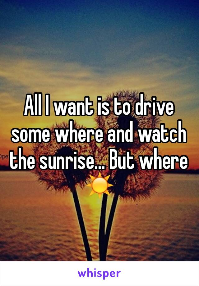 All I want is to drive some where and watch the sunrise... But where☀️