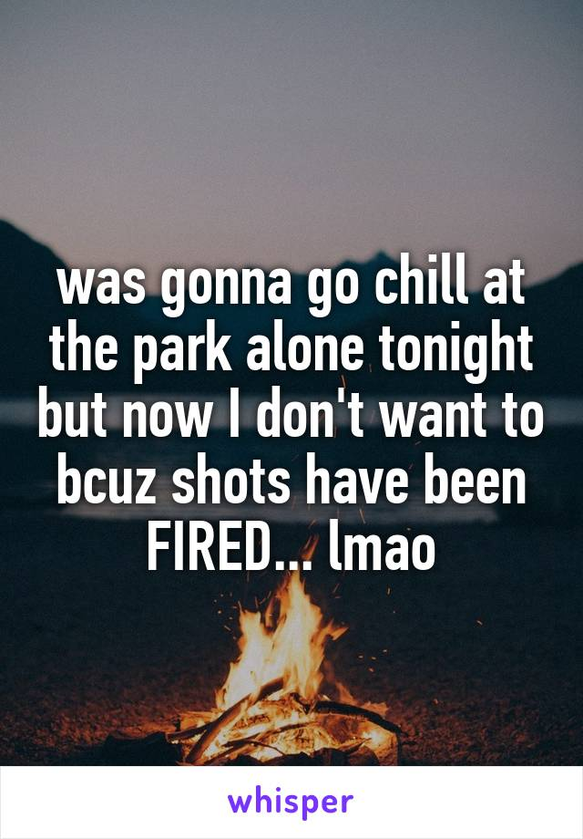 was gonna go chill at the park alone tonight but now I don't want to bcuz shots have been FIRED... lmao