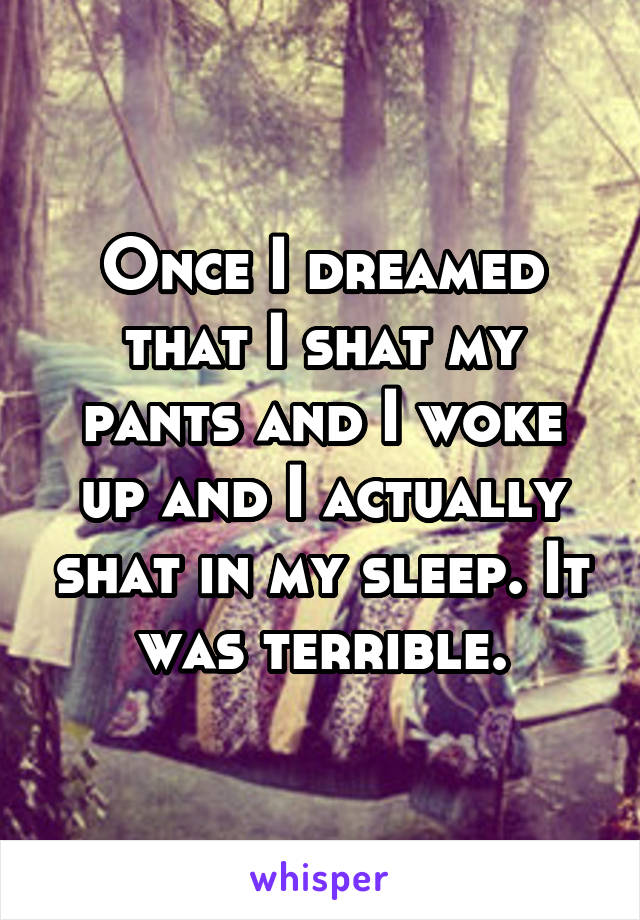 Once I dreamed that I shat my pants and I woke up and I actually shat in my sleep. It was terrible.