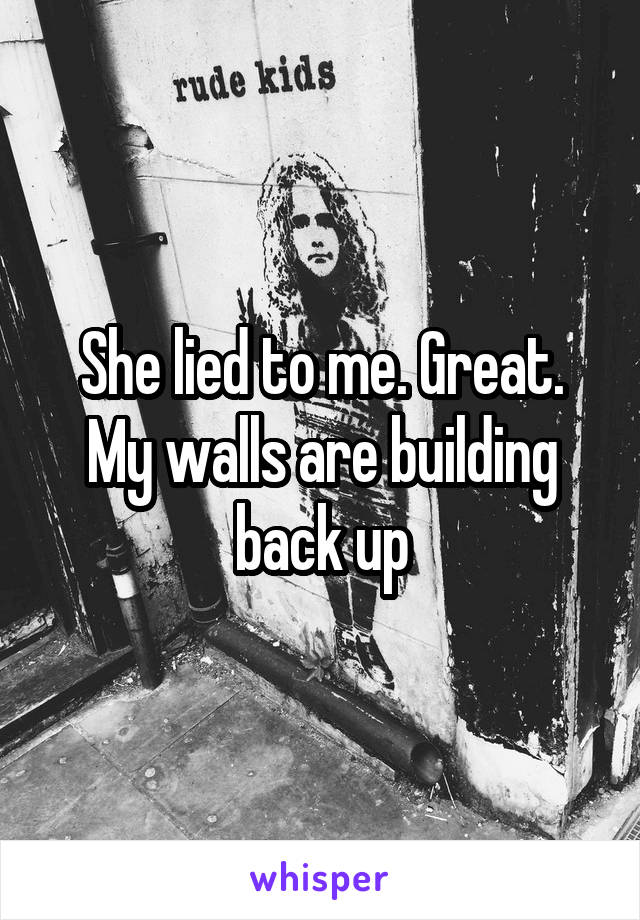 She lied to me. Great. My walls are building back up