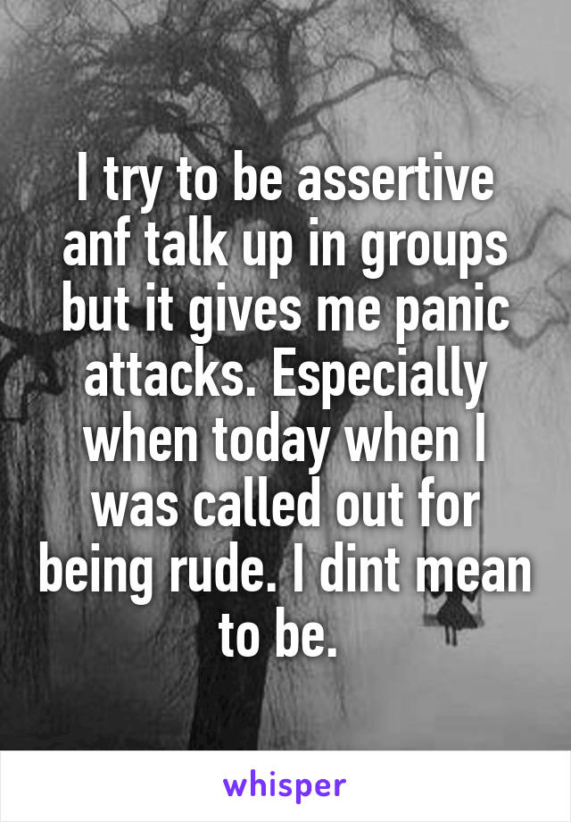I try to be assertive anf talk up in groups but it gives me panic attacks. Especially when today when I was called out for being rude. I dint mean to be.