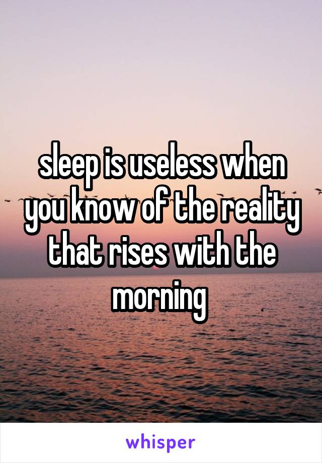 sleep is useless when you know of the reality that rises with the morning
