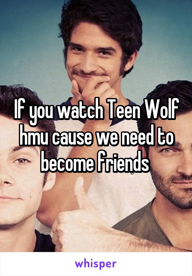 If you watch Teen Wolf hmu cause we need to become friends