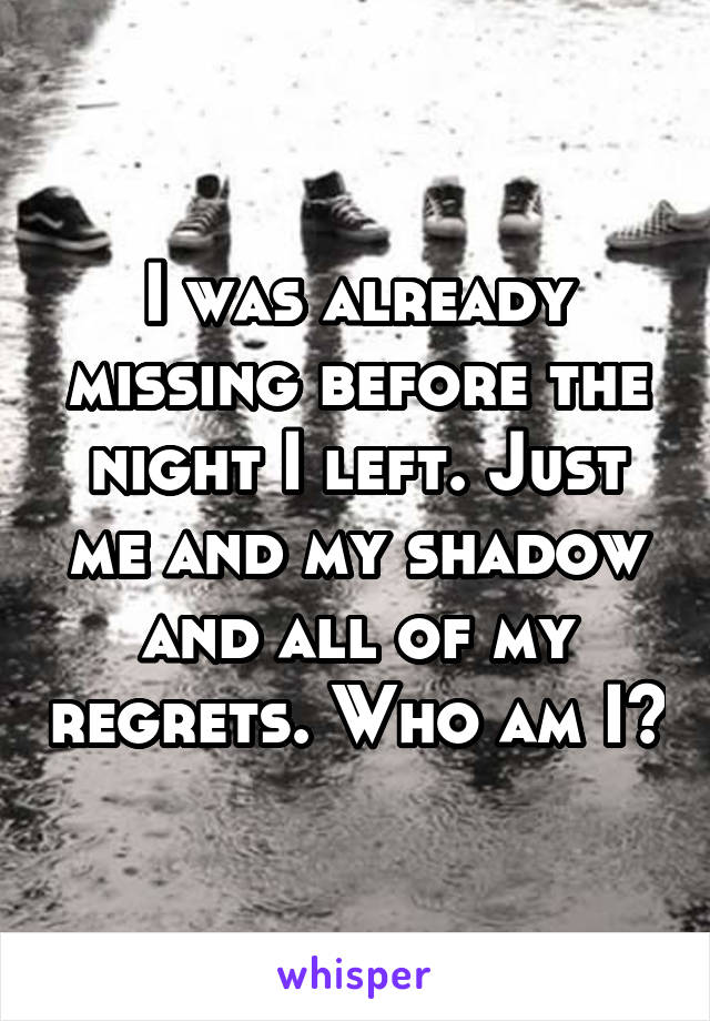 I was already missing before the night I left. Just me and my shadow and all of my regrets. Who am I?