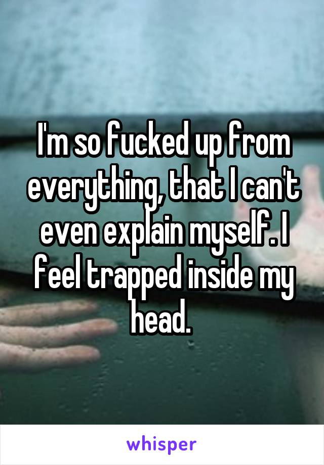 I'm so fucked up from everything, that I can't even explain myself. I feel trapped inside my head.