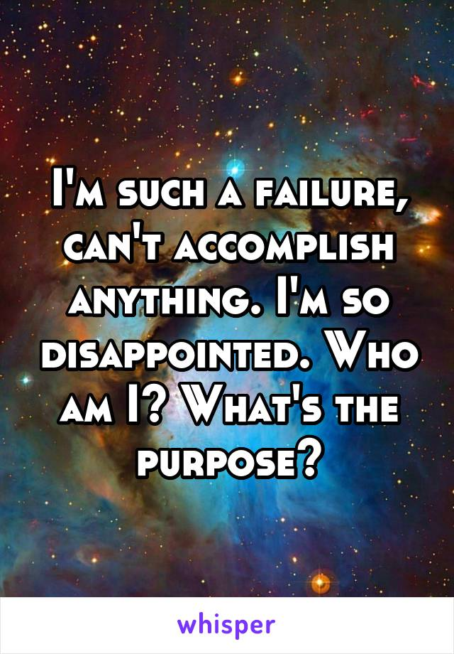 I'm such a failure, can't accomplish anything. I'm so disappointed. Who am I? What's the purpose?
