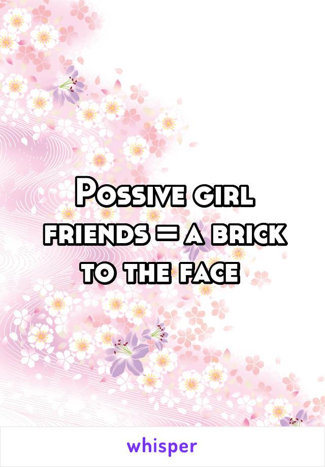 Possive girl friends = a brick to the face