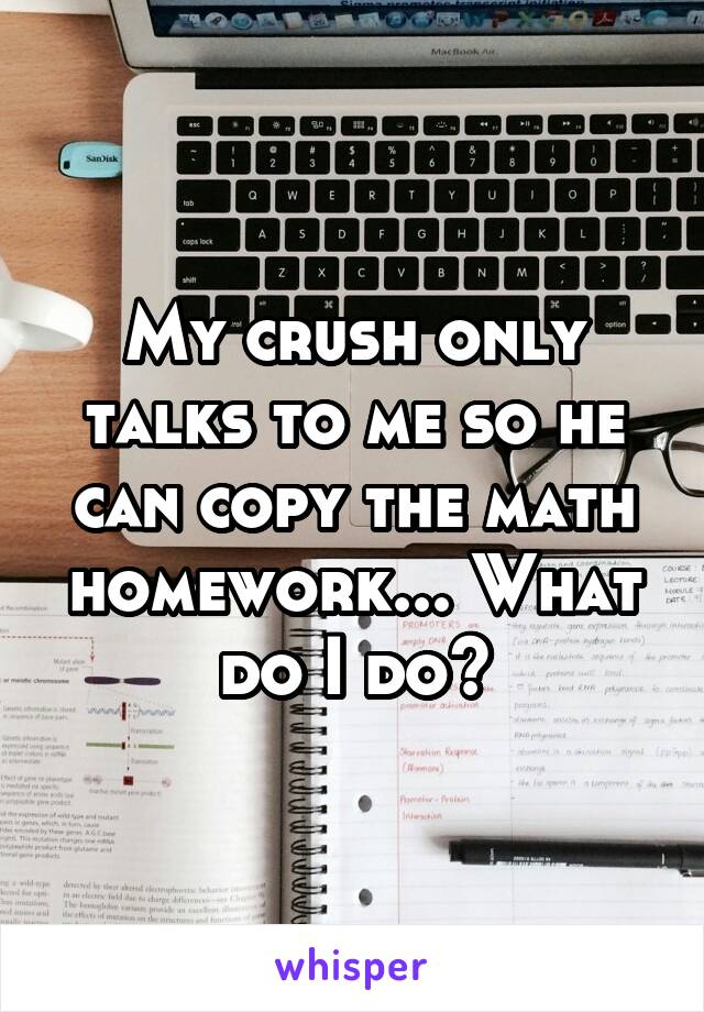 My crush only talks to me so he can copy the math homework... What do I do?