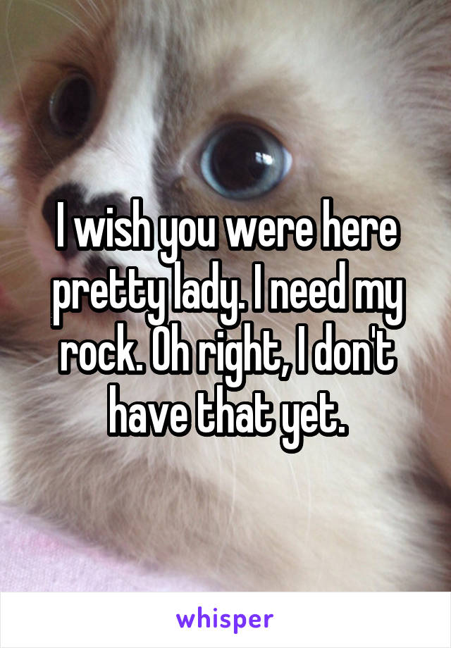 I wish you were here pretty lady. I need my rock. Oh right, I don't have that yet.