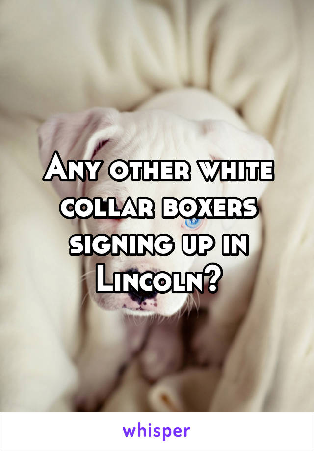 Any other white collar boxers signing up in Lincoln?