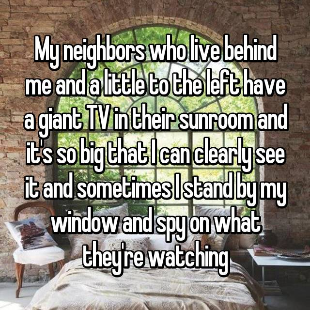 My neighbors who live behind me and a little to the left have a giant TV in their sunroom and it's so big that I can clearly see it and sometimes I stand by my window and spy on what they're watching
