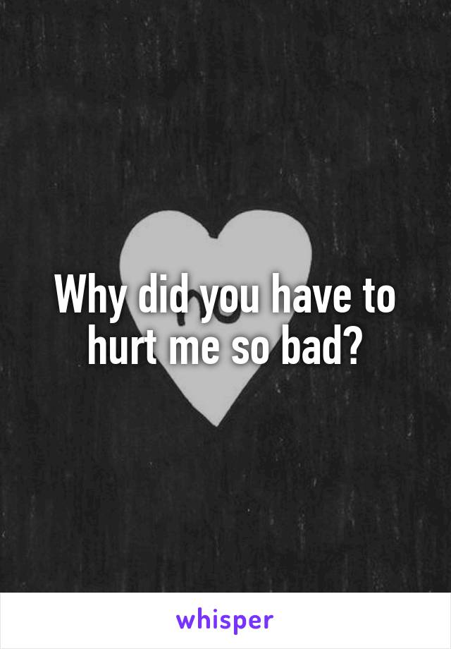 Why did you have to hurt me so bad?