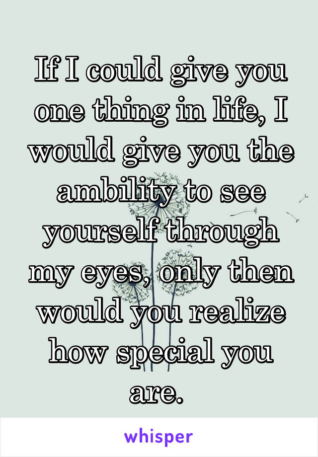 If I could give you one thing in life, I would give you the ambility to see yourself through my eyes, only then would you realize how special you are.