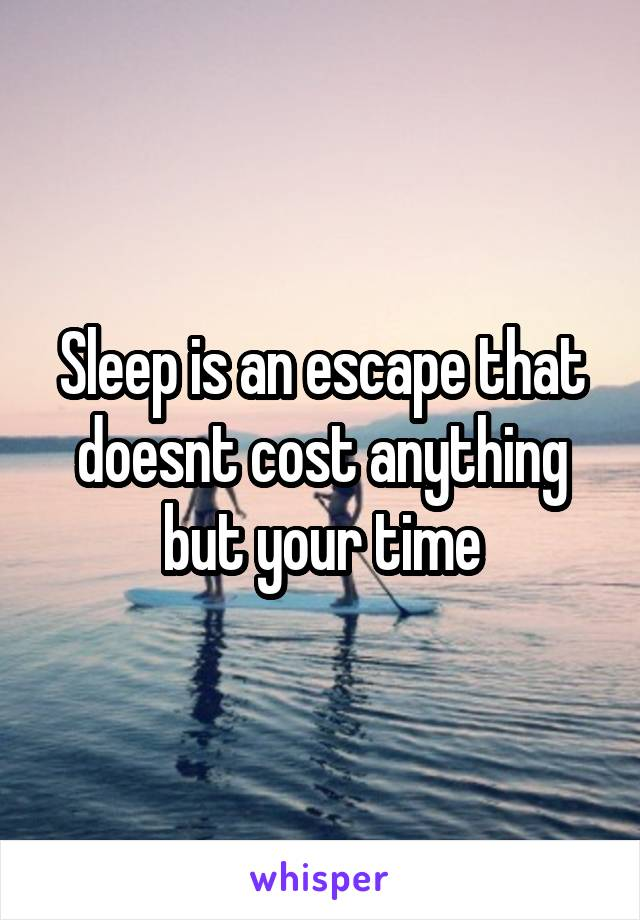 Sleep is an escape that doesnt cost anything but your time