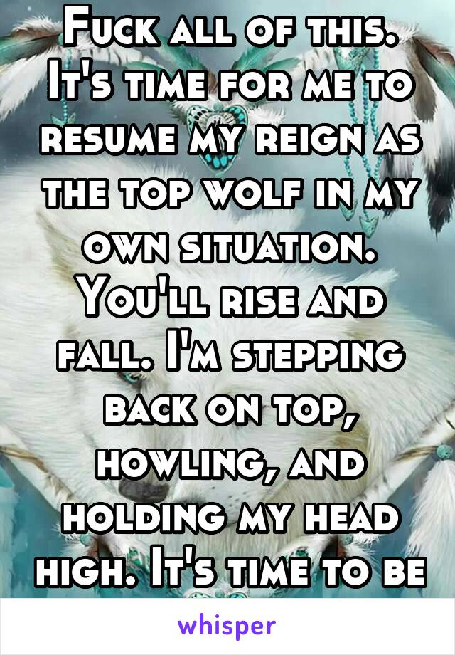 Fuck all of this. It's time for me to resume my reign as the top wolf in my own situation. You'll rise and fall. I'm stepping back on top, howling, and holding my head high. It's time to be me again.