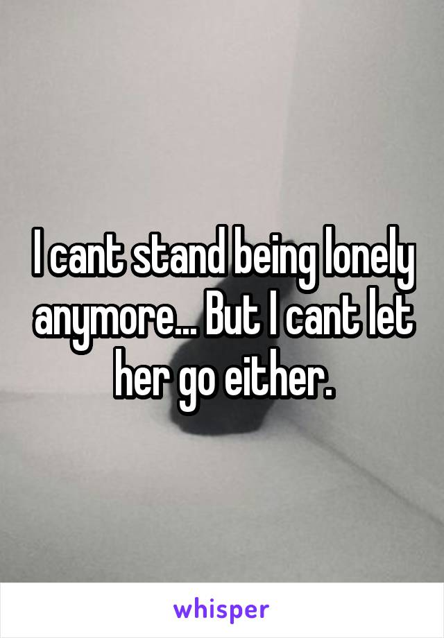 I cant stand being lonely anymore... But I cant let her go either.