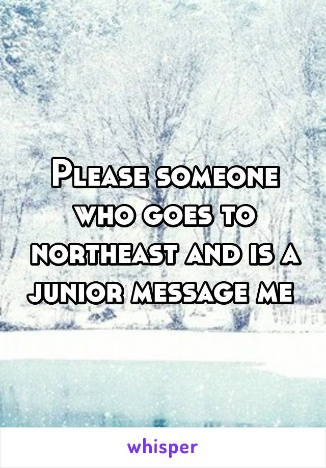 Please someone who goes to northeast and is a junior message me