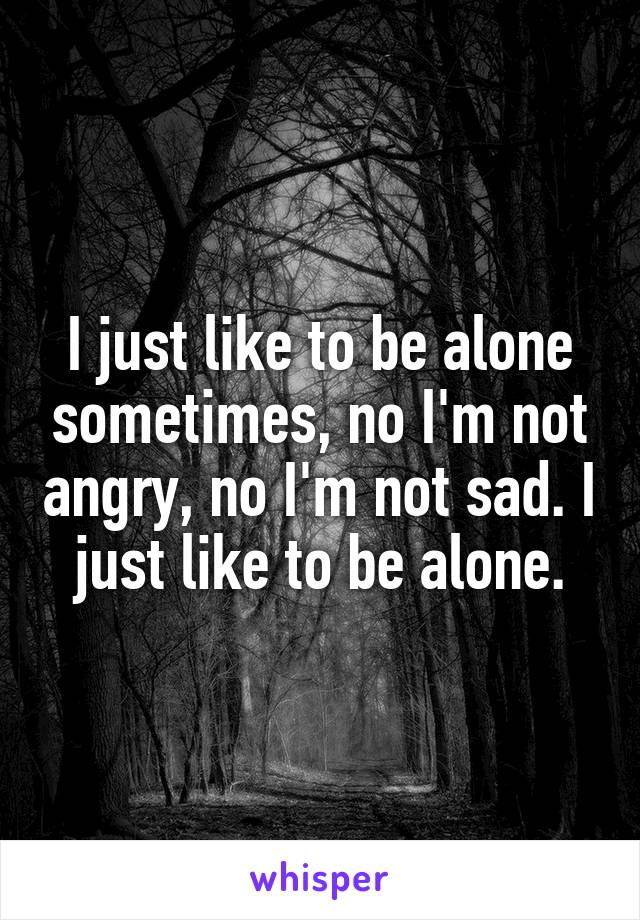 I just like to be alone sometimes, no I'm not angry, no I'm not sad. I just like to be alone.