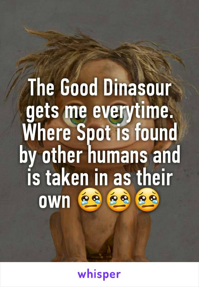 The Good Dinasour gets me everytime. Where Spot is found by other humans and is taken in as their own 😢😢😢
