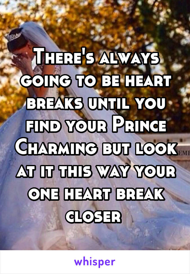 There's always going to be heart breaks until you find your Prince Charming but look at it this way your one heart break closer