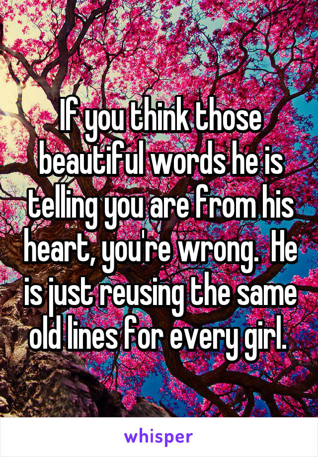 If you think those beautiful words he is telling you are from his heart, you're wrong.  He is just reusing the same old lines for every girl.