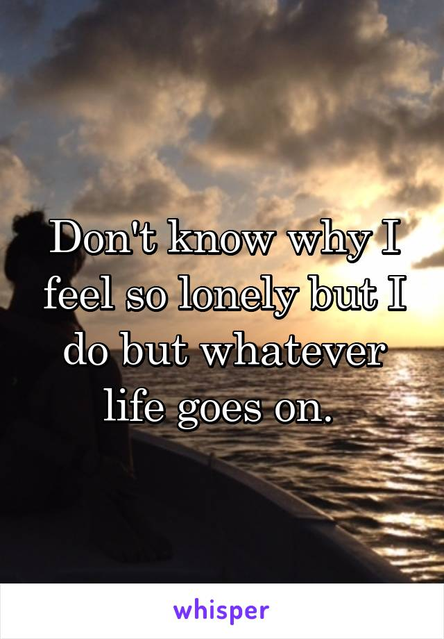 Don't know why I feel so lonely but I do but whatever life goes on.