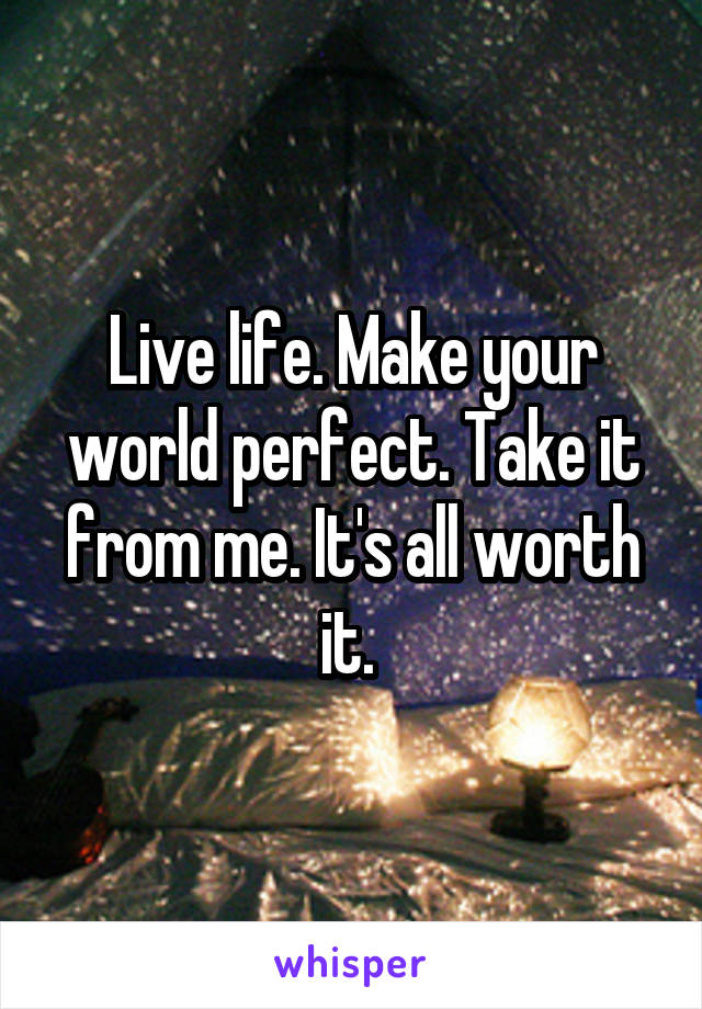 Live life. Make your world perfect. Take it from me. It's all worth it.