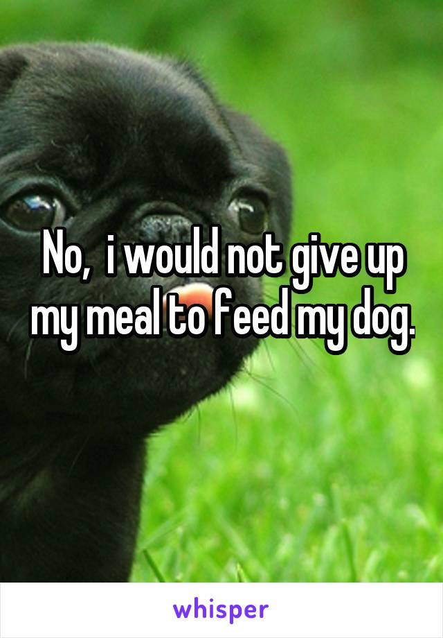 No,  i would not give up my meal to feed my dog.