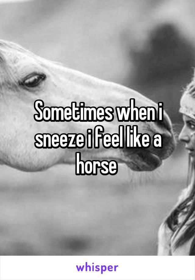 Sometimes when i sneeze i feel like a horse
