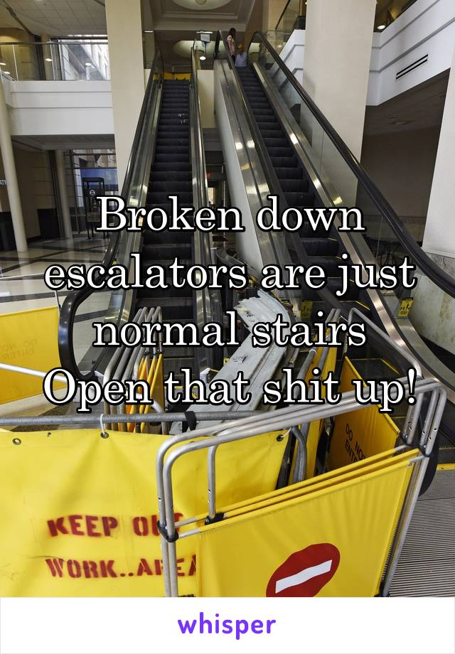 Broken down escalators are just normal stairs Open that shit up!
