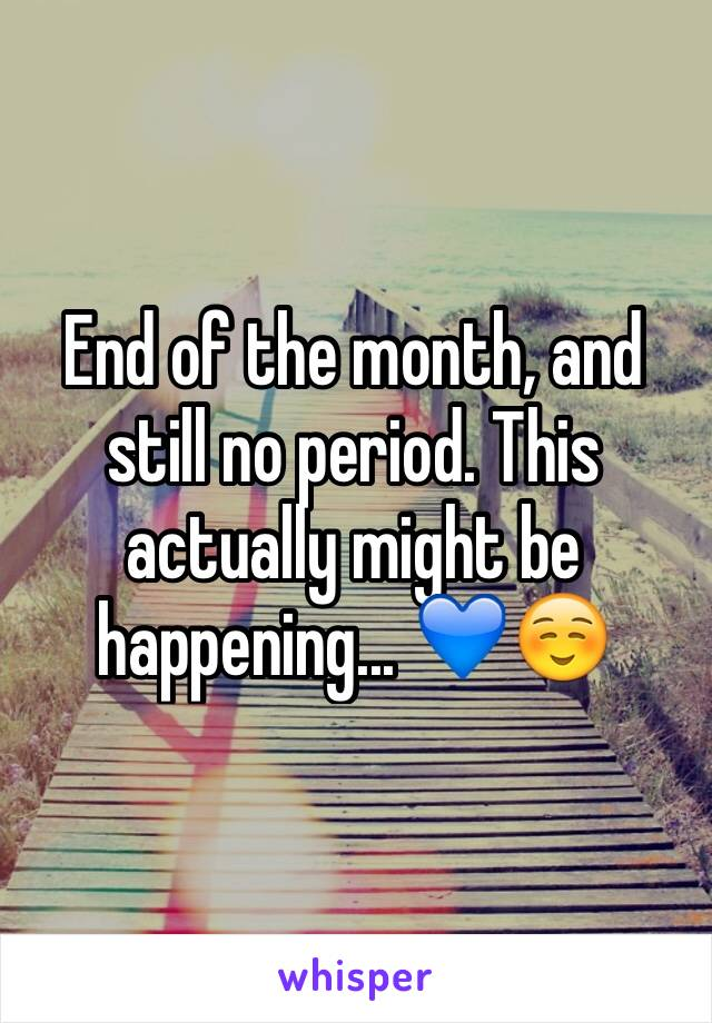 End of the month, and still no period. This actually might be happening... 💙☺️