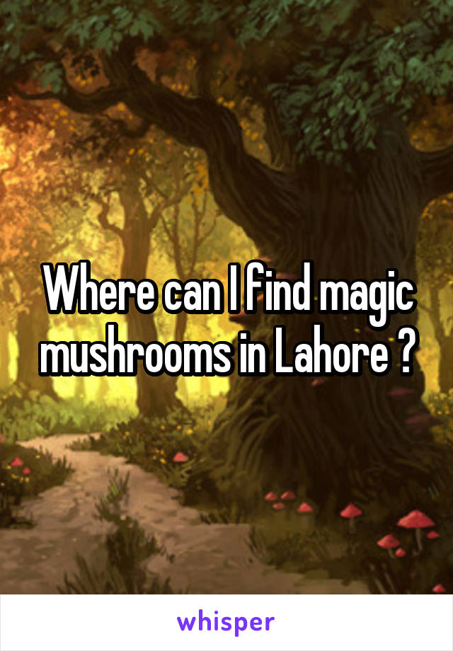 Where can I find magic mushrooms in Lahore ?