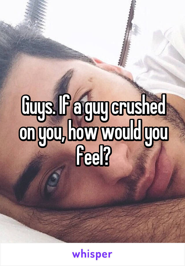 Guys. If a guy crushed on you, how would you feel?