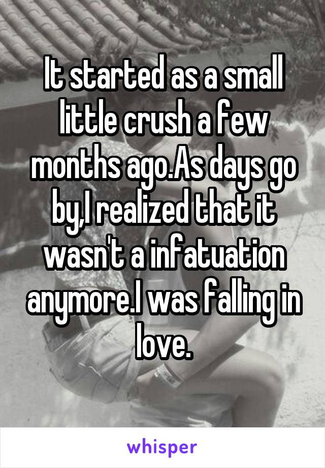 It started as a small little crush a few months ago.As days go by,I realized that it wasn't a infatuation anymore.I was falling in love.