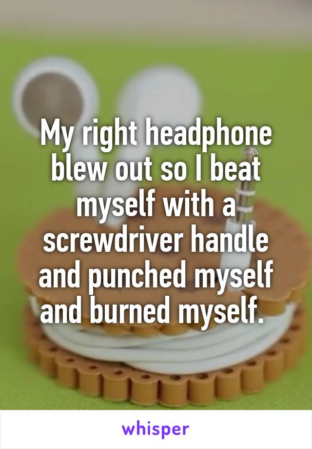 My right headphone blew out so I beat myself with a screwdriver handle and punched myself and burned myself.