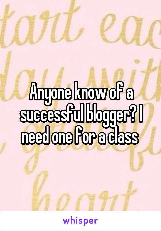 Anyone know of a successful blogger? I need one for a class