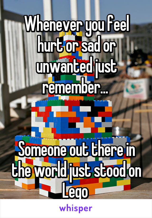 Whenever you feel hurt or sad or unwanted just remember...    Someone out there in the world just stood on Lego
