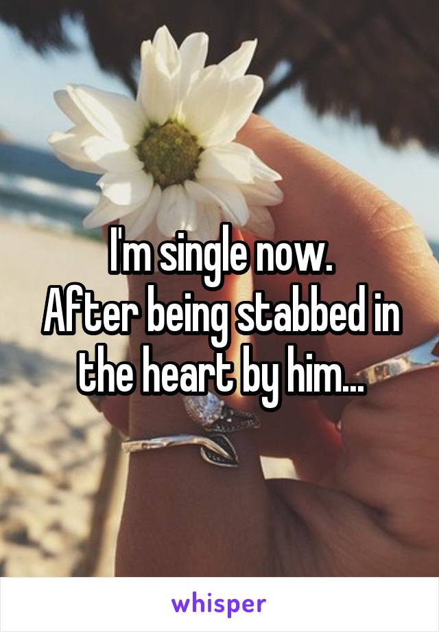 I'm single now. After being stabbed in the heart by him...
