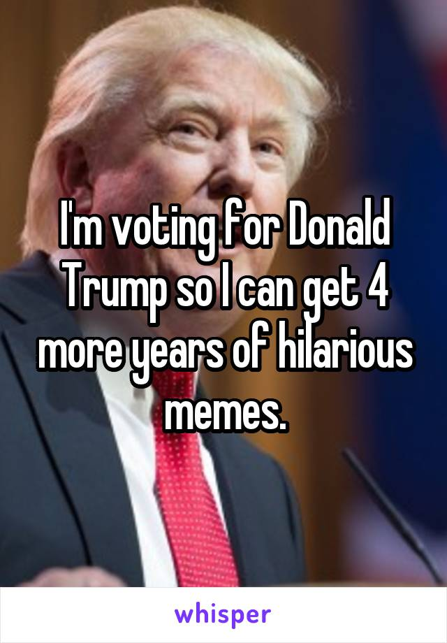 I'm voting for Donald Trump so I can get 4 more years of hilarious memes.