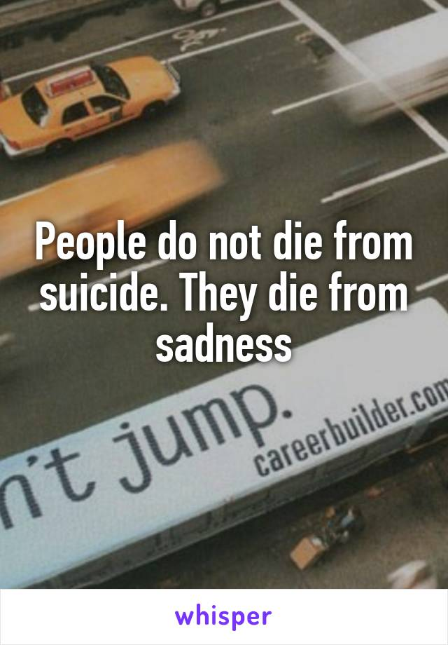 People do not die from suicide. They die from sadness