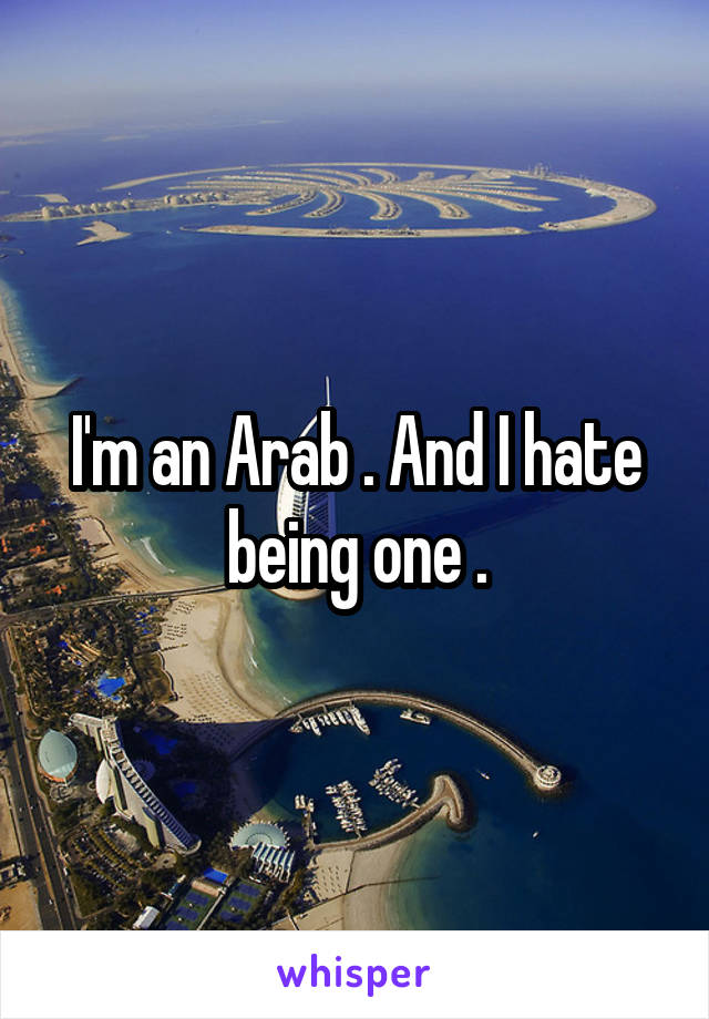 I'm an Arab . And I hate being one .
