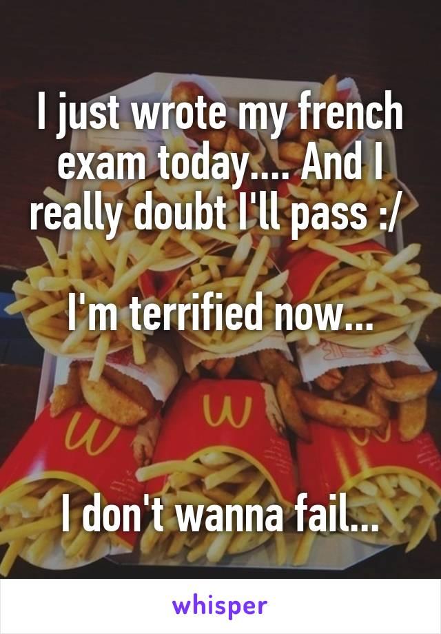 I just wrote my french exam today.... And I really doubt I'll pass :/   I'm terrified now...    I don't wanna fail...