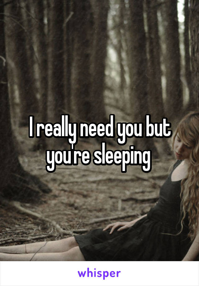 I really need you but you're sleeping
