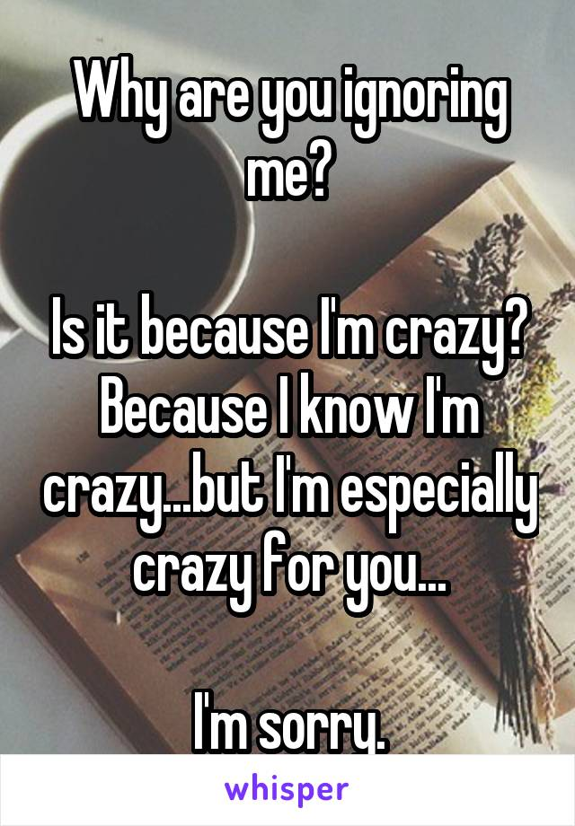 Why are you ignoring me?  Is it because I'm crazy? Because I know I'm crazy...but I'm especially crazy for you...  I'm sorry.