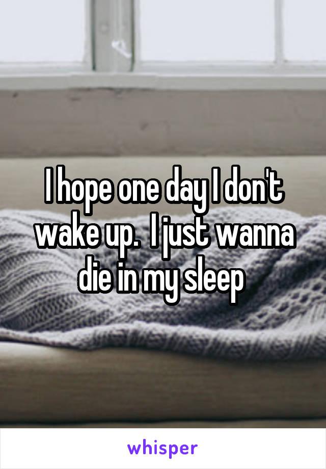 I hope one day I don't wake up.  I just wanna die in my sleep