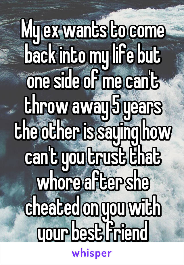My ex wants to come back into my life but one side of me can't throw away 5 years the other is saying how can't you trust that whore after she cheated on you with your best friend