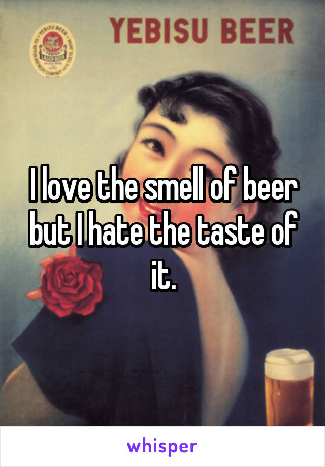 I love the smell of beer but I hate the taste of it.