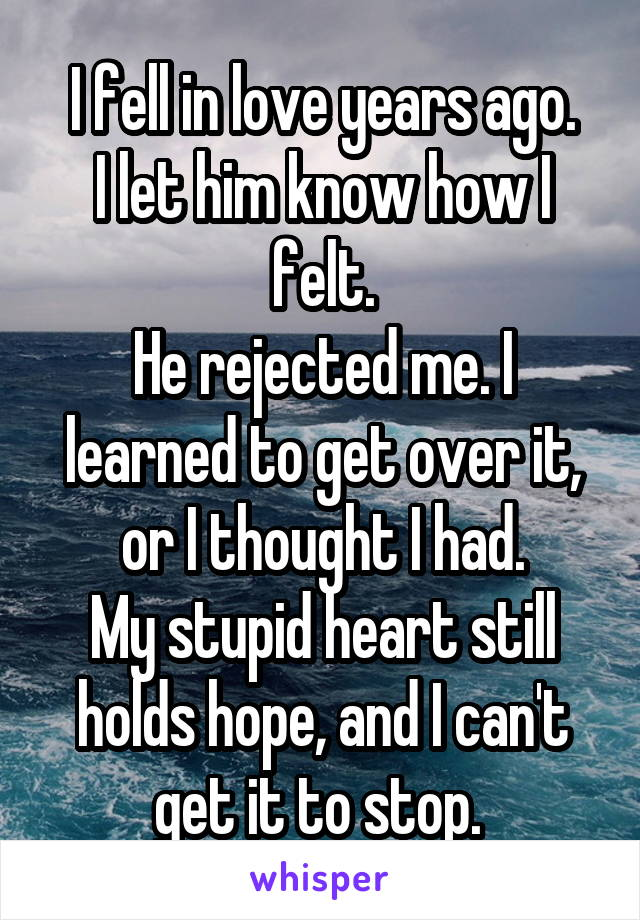 I fell in love years ago. I let him know how I felt. He rejected me. I learned to get over it, or I thought I had. My stupid heart still holds hope, and I can't get it to stop.