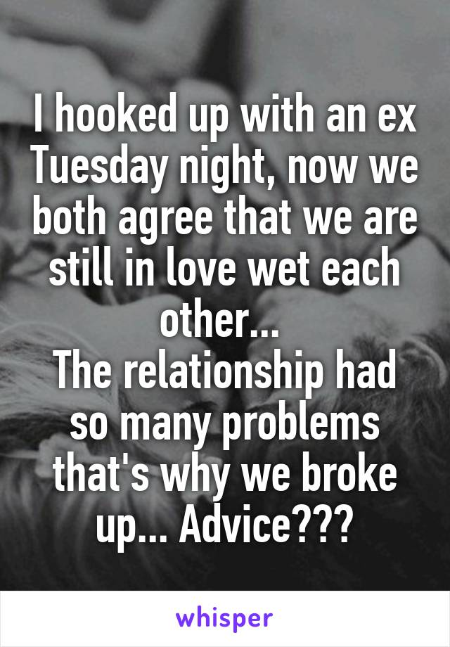 I hooked up with an ex Tuesday night, now we both agree that we are still in love wet each other...  The relationship had so many problems that's why we broke up... Advice???